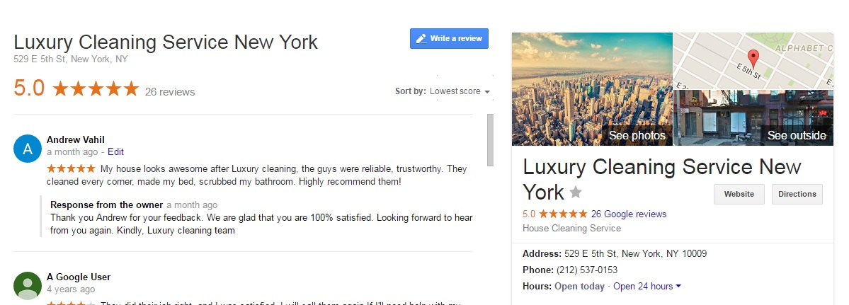 luxury cleaning service nyc google reviews