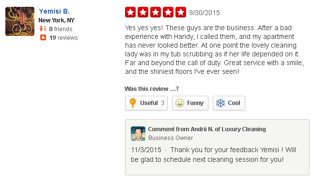 luxury cleaning service nyc reviews on Yelp #3