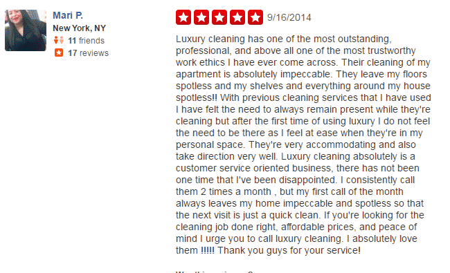 luxury cleaning services nyc reviews on Yelp #1