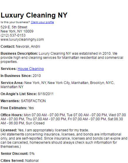 luxury cleaning nyc on Angie's List #2