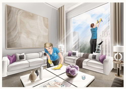 Luxury Cleaning NYC Process of work painting